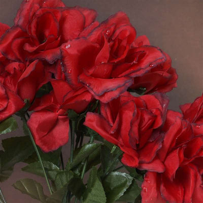 84 Artificial Silk Open Roses Wedding Flower Bouquet Centerpiece Decor-Black/Red