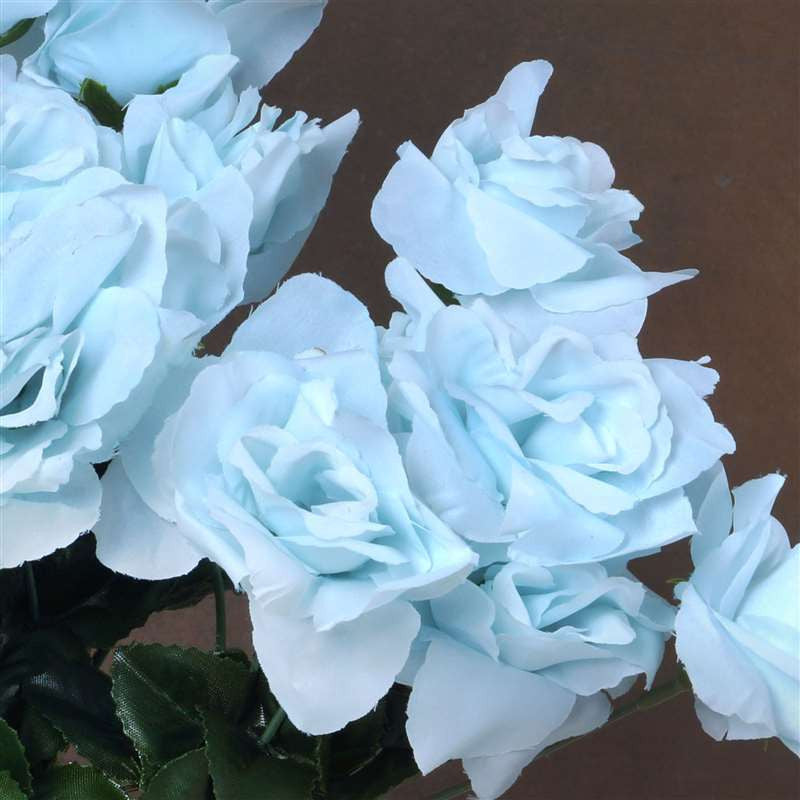 84 Artificial Silk Open Roses Wedding Flower Bouquet Centerpiece Decor-Lt. Blue