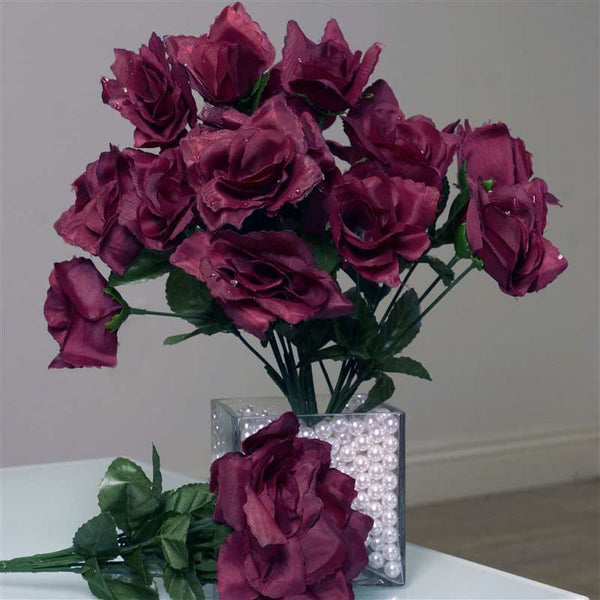Silk Open Rose-Burgundy-84/pk