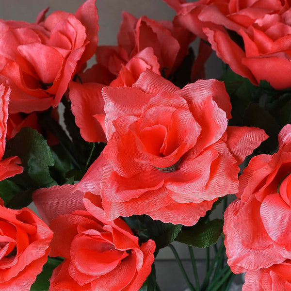 Silk Open Rose - 84/pk - Coral