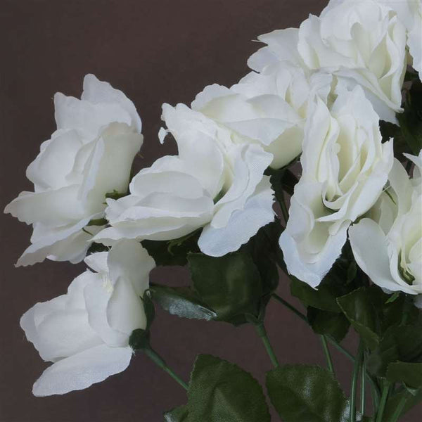 84 Artificial Silk Open Roses Wedding Flower Bouquet Centerpiece Decor-Cream