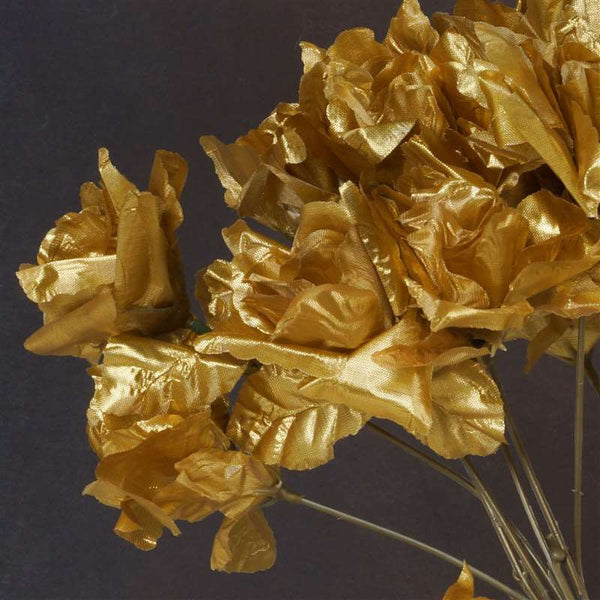 Small Open Rose Bush Artificial Silk Flowers - Gold