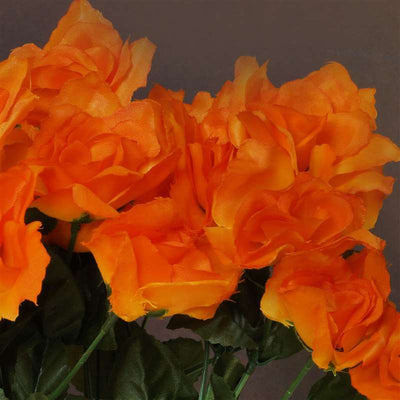 Small Open Rose Bush Artificial Silk Flowers - Orange