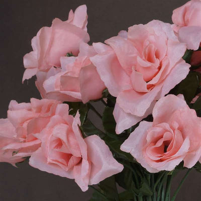 Small Open Rose Bush Artificial Silk Flowers - Peach