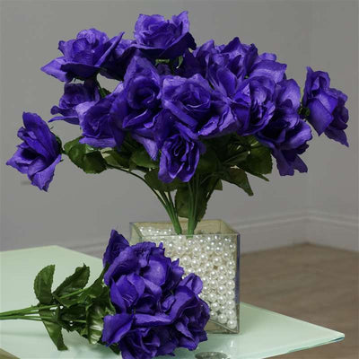 Silk Open Rose-Purple-84/pk
