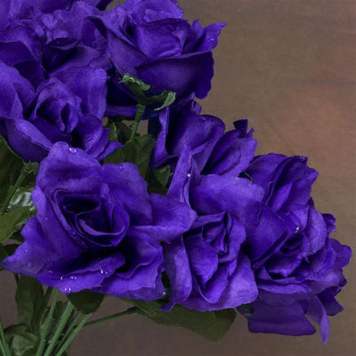 Small Open Rose Bush Artificial Silk Flowers - Purple