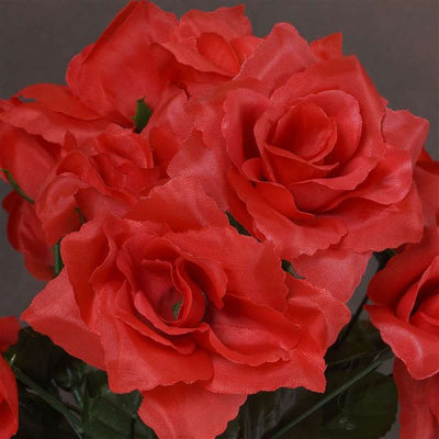 Small Open Rose Bush Artificial Silk Flowers - Red