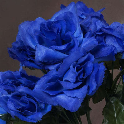 Small Open Rose Bush Artificial Silk Flowers - Royal Blue
