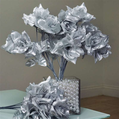 Silk Open Rose-Silver-84/pk