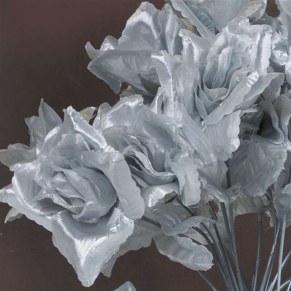 Small Open Rose Bush Artificial Silk Flowers - Silver