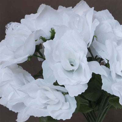 84 Artificial Silk Open Roses Wedding Flower Bouquet Centerpiece Decor-White