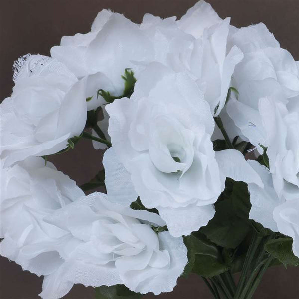 Small Open Rose Bush Artificial Silk Flowers - White
