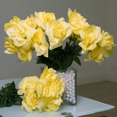Silk Open Rose-Yellow-84/pk