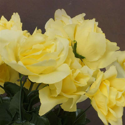 Small Open Rose Bush Artificial Silk Flowers - Yellow