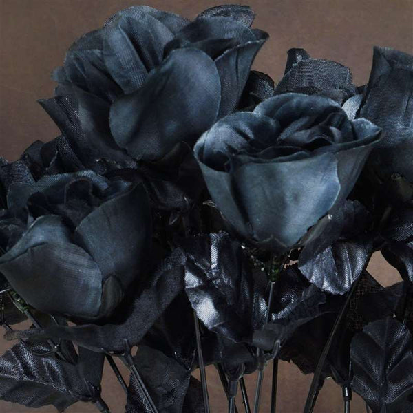 Small Rose Buds Artificial Silk Flowers - Black