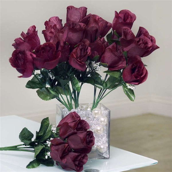 Silk Rose Buds-Burgundy-84/pk
