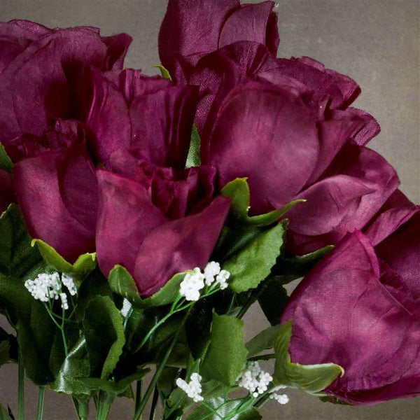 Small Rose Buds Artificial Silk Flowers - Burgundy