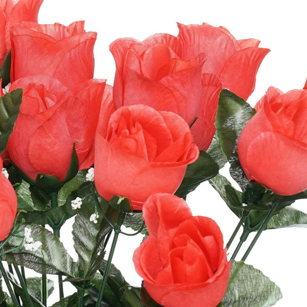 84 Artificial Silk Rose Buds Wedding Flower Bouquet Centerpiece Decor  - Coral