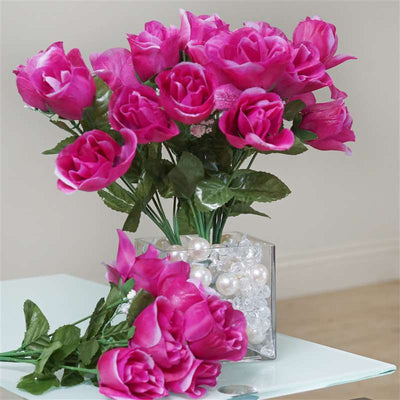 84 Artificial Silk Rose Buds Wedding Flower Bouquet Centerpiece Decor 84 Silk Rose Buds - Fushia