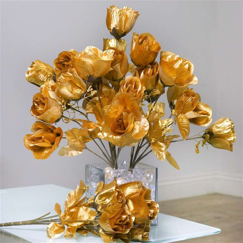 Silk Rose Buds - Gold - 84/pk | Silk Flowers Factory