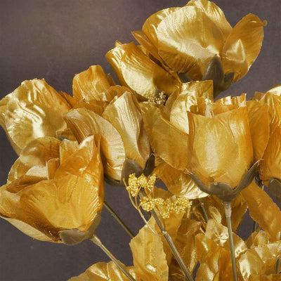 84 Artificial Silk Rose Buds Wedding Flower Bouquet Centerpiece Decor  - Gold