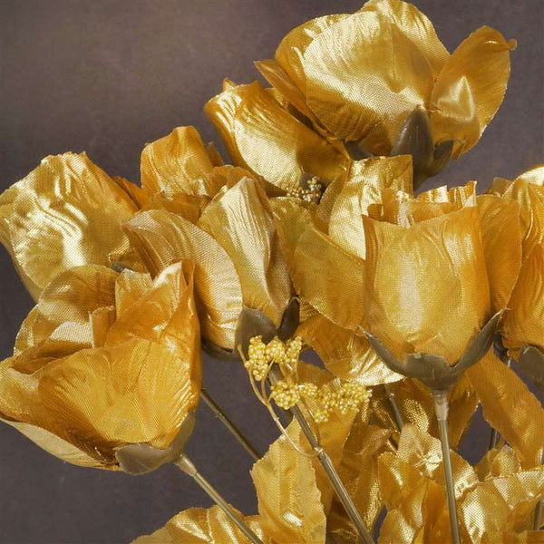 Small Rose Buds Artificial Silk Flowers - Gold