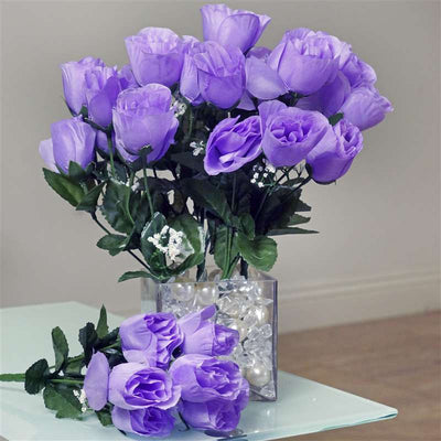 Small Rose Buds Artificial Silk Flowers - Lavender
