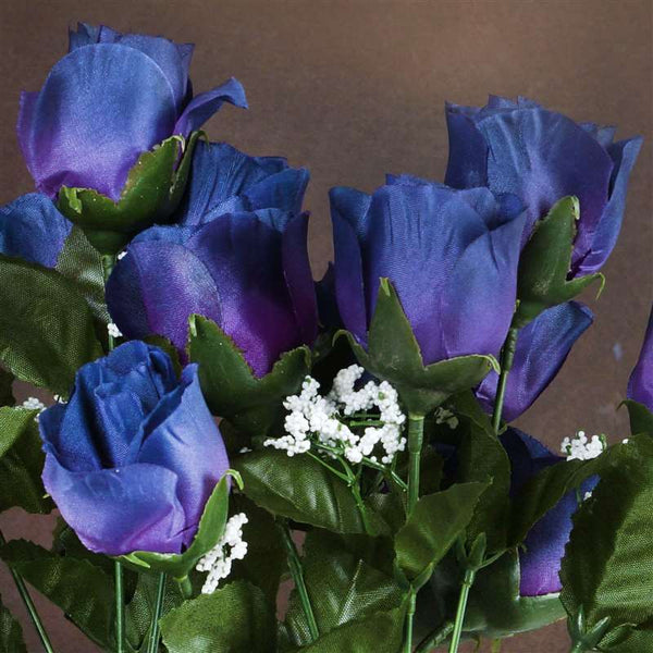 84 Artificial Silk Rose Buds Wedding Flower Bouquet Centerpiece Decor - Navy Blue