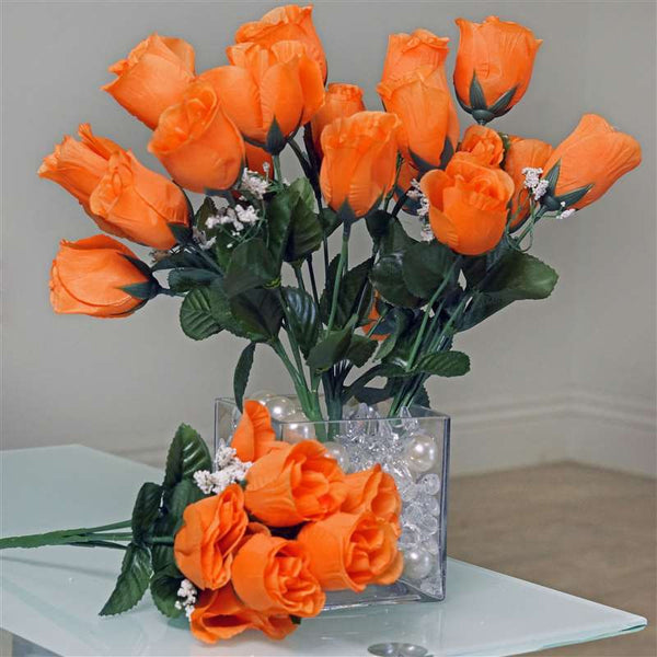 Small Rose Buds Artificial Silk Flowers - Orange