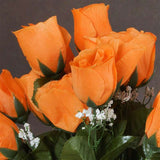 84 Artificial Silk Rose Buds Wedding Flower Bouquet Centerpiece Decor -Orange