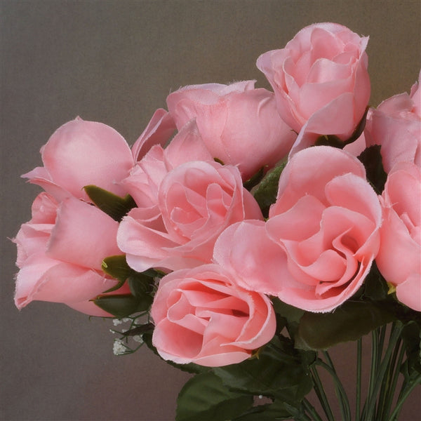 Small Rose Buds Artificial Silk Flowers - Peach