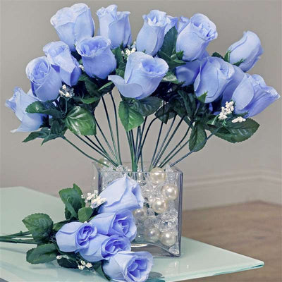 84 Artificial Silk Rose Buds Wedding Flower Bouquet Centerpiece Decor -Periwinkle