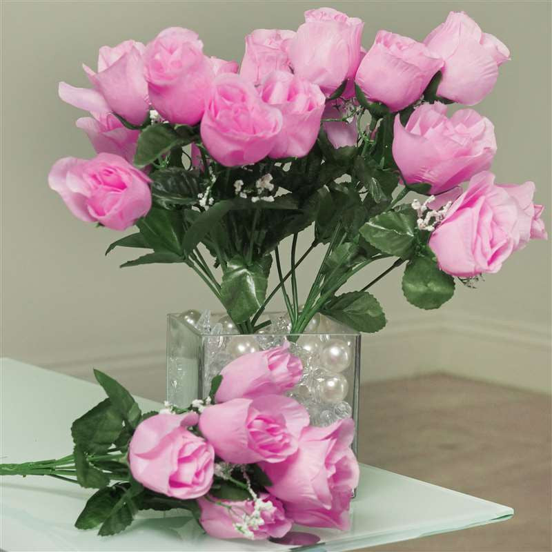 Silk Rose Buds - Pink - 84/pk | Silk Flowers Factory