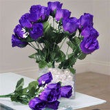84 Artificial Silk Rose Buds Wedding Flower Bouquet Centerpiece Decor -Purple