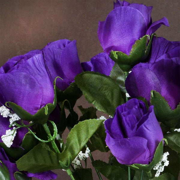 Small Rose Buds Artificial Silk Flowers - Purple
