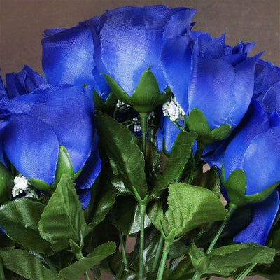 Small Rose Buds Artificial Silk Flowers - Royal Blue