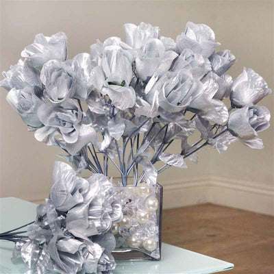 Silk Rose Buds-Silver-84/pk