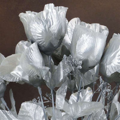 Small Rose Buds Artificial Silk Flowers - Silver