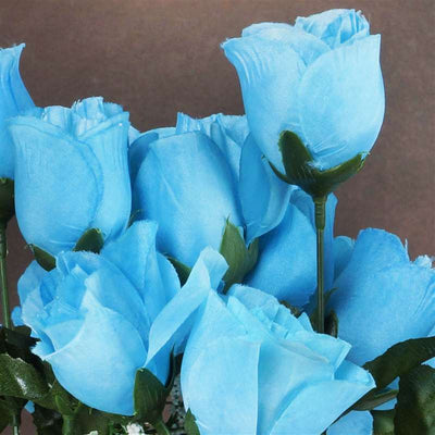 Small Rose Buds Artificial Silk Flowers - Turquoise