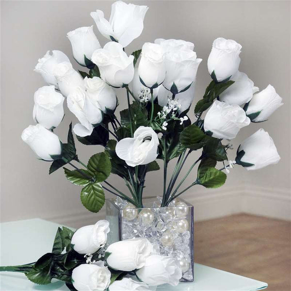 Silk Rose Buds-White-84/pk