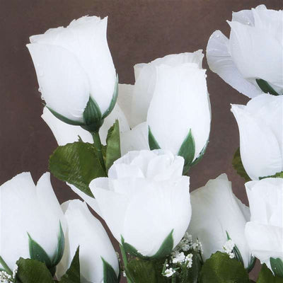 Small Rose Buds Artificial Silk Flowers - White