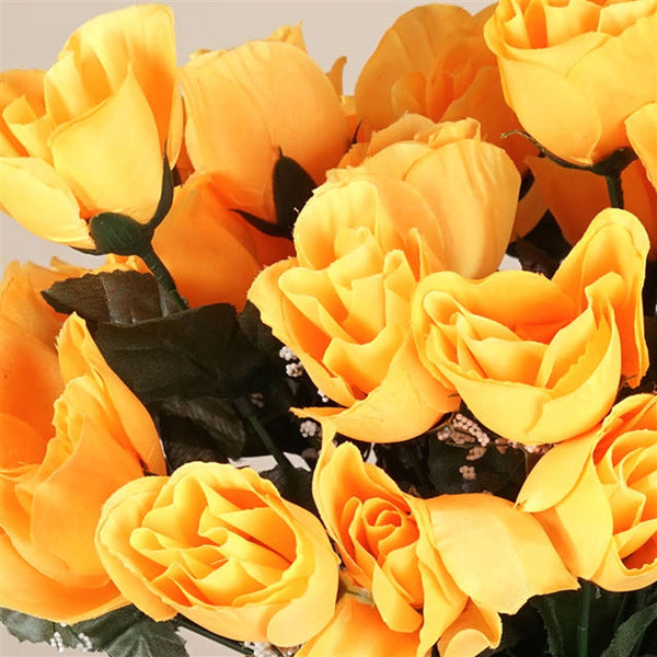 Small Rose Buds Artificial Silk Flowers - Yellow