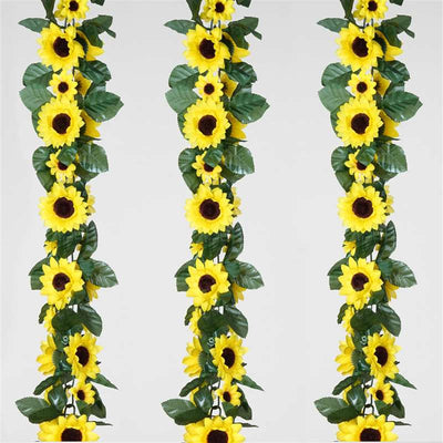 6FT Artificial UV Protected Yellow Sunflower Silk Flower Garland Chain Wedding Arch Gazebo Decor