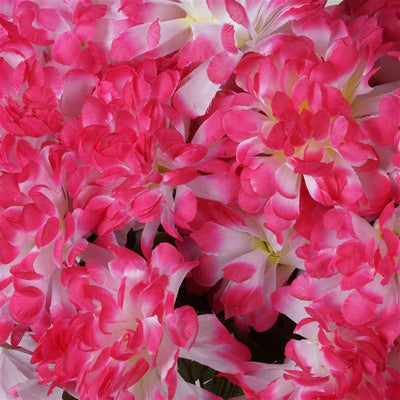 56 Artificial Fushia Silk Chrysanthemum Flowers Bush Wedding Bridal Bouquet Vase Decoration