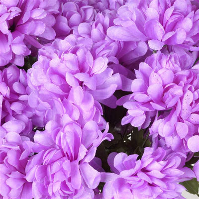 Large Chrysanthemum Bush Artificial Silk Flowers - Lavender