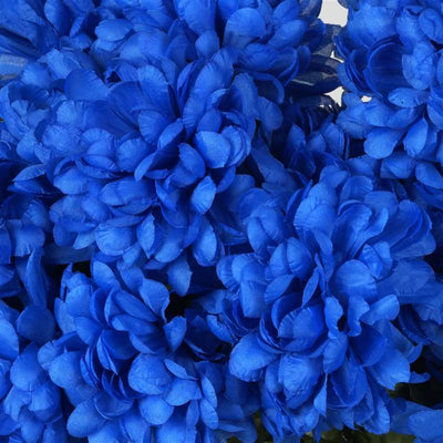 Large Chrysanthemum Bush Artificial Silk Flowers - Royal Blue