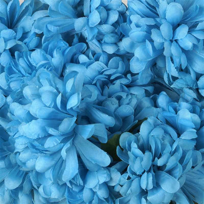 56 Artificial Turquoise Silk Chrysanthemum Flowers Bush Wedding Bridal Bouquet Vase Decoration