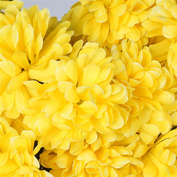 Large Chrysanthemum Bush Artificial Silk Flowers - Yellow