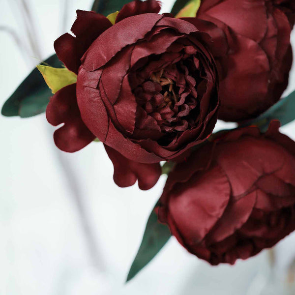 2 Bush Burgundy Peony, Rose Bud And Hydrangea Real Touch Artificial Silk Peonies Bouquet