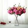 2 Bush Fushia | Purple Peony, Rose Bud And Hydrangea Real Touch Artificial Silk Flower Bouquets